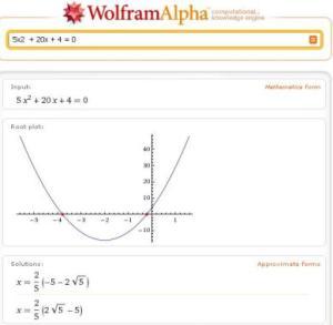 Wolfram Alpha resolvendo uma equação do segundo grau, com gráfico e tudo